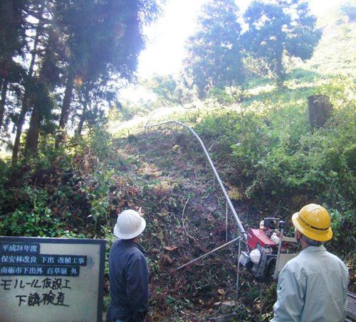 富山県南砺市下出地内でモノレール架設行いました2